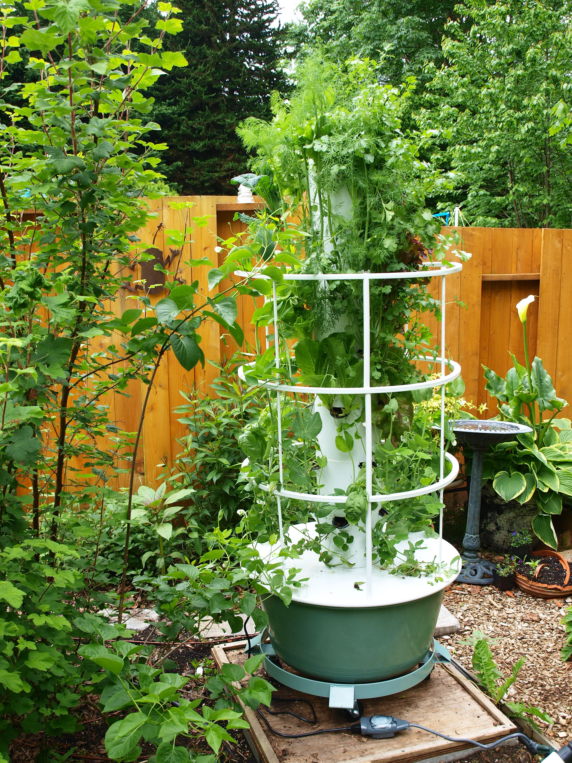 Our tower gardens backyard tower garden for Backyard patio landscaping