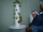 Bob finishing up insulating our Tower Garden