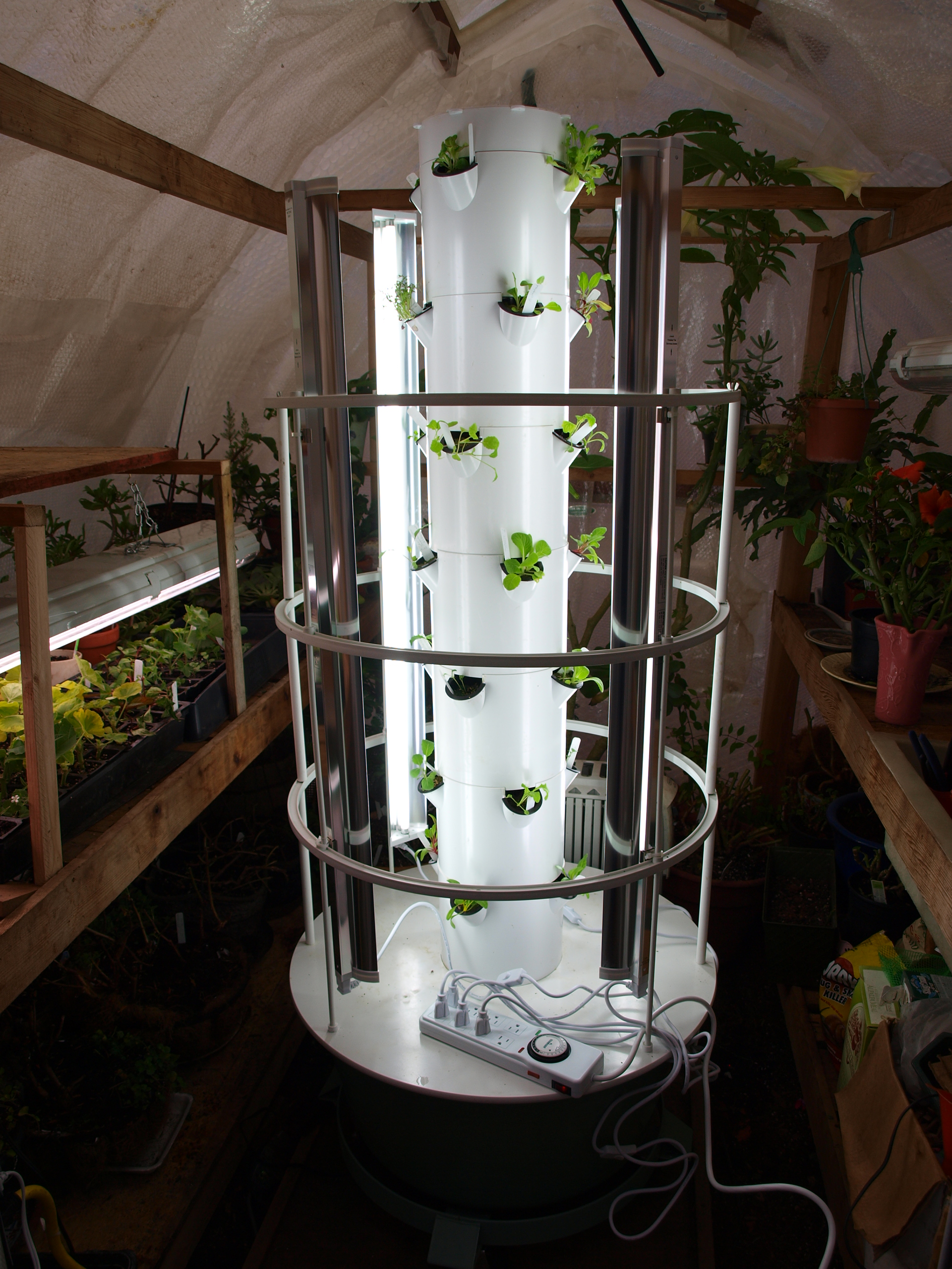 Grow Lights Installed On Tower Garden Plugged Into Timer.
