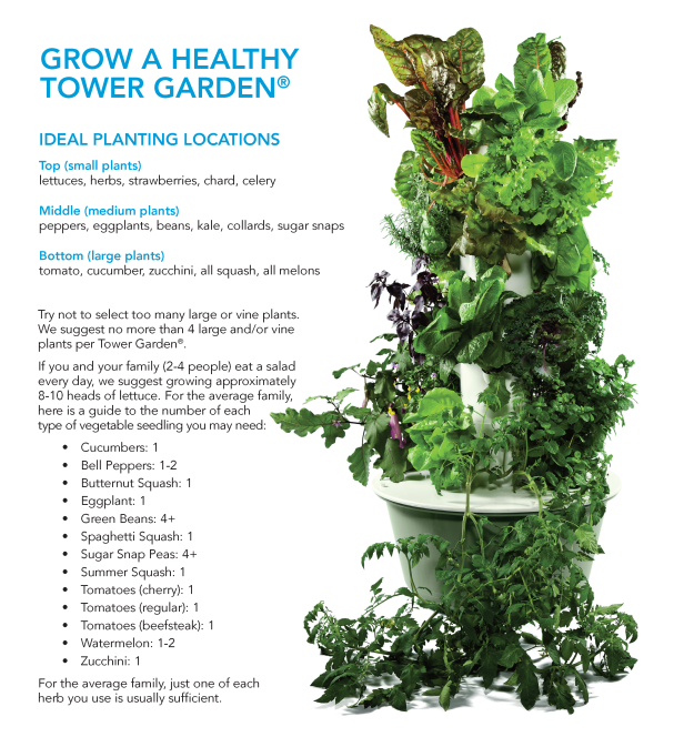How to grow a healthy Tower Garden graphic.